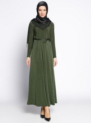 Güpür Detaylı Elbise - Haki