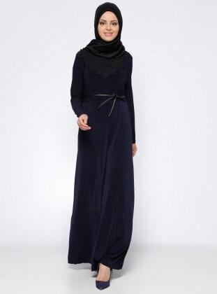 Tuncay Güpür Detaylı Elbise - Lacivert