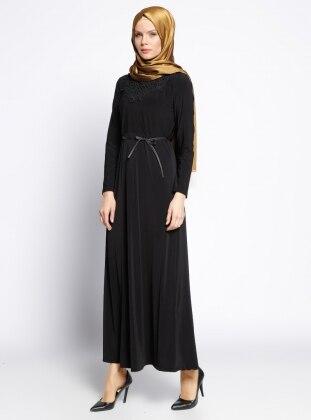 Güpür Detaylı Elbise - Siyah