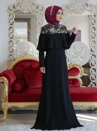 Black - Fully Lined - Muslim Evening Dress - Minel Ask 278731