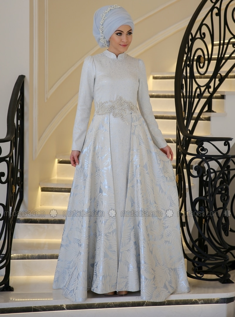 Fully Lined - Blue - Crew neck - Muslim Evening Dress