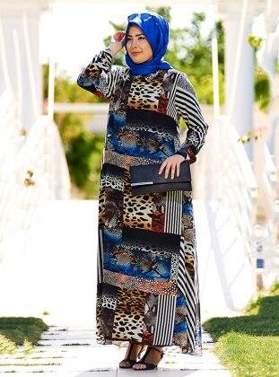 Leopar Desenli Elbise - Siyah Mavi