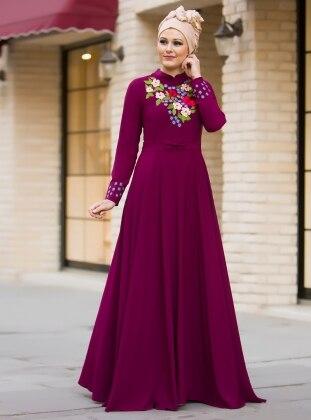 Bahar Nakışlı Elbise - Fuşya
