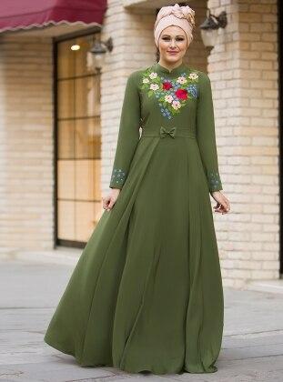 Bahar Nakışlı Elbise - Haki