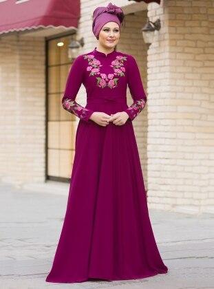 Benefşe Nakışlı Elbise - Fuşya