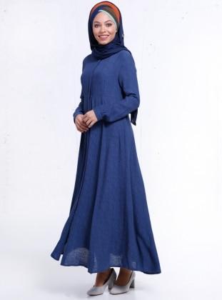 Boydan Gizli Düğmeli Elbise - Indigo