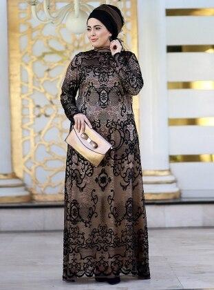 Nesrin Emniyetli Dantelli Abiye Elbise - Gold Siyah
