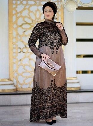 Dantelli Abiye Elbise - Gold Siyah