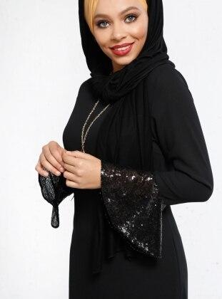 Kol Ucu Volanlı Elbise - Siyah