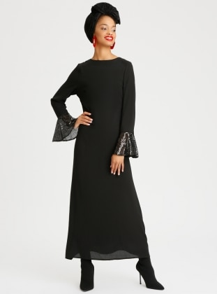 Black - Crew neck - Fully Lined - Dress - Refka
