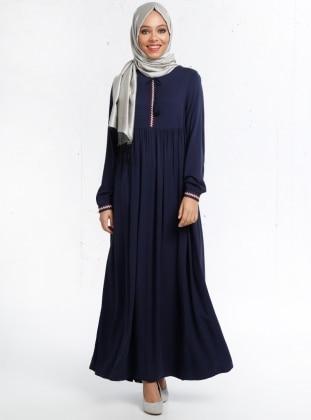 Nakış Detaylı Elbise - Lacivert