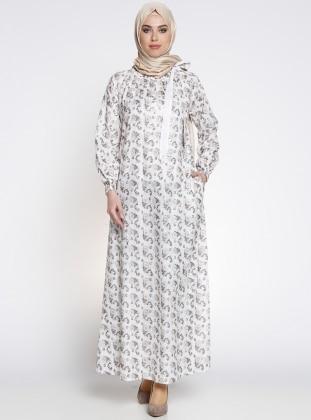 Nakışlı Elbise - Bej
