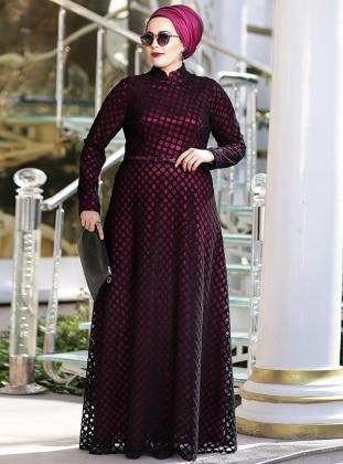 Petek Dantel Abiye Elbise - Fuşya Siyah