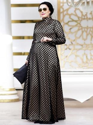 Petek Dantel Abiye Elbise - Gold Siyah