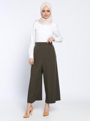 Piliseli Pantolon - Koyu Haki