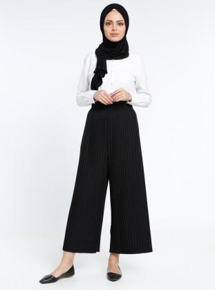 Piliseli Pantolon - Siyah
