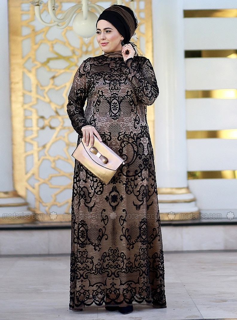 Gold Fully Lined Crew Neck Muslim Plus Size Evening Dress