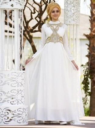 Taş İşlemeli Sanem Abiye Elbise - Ekru