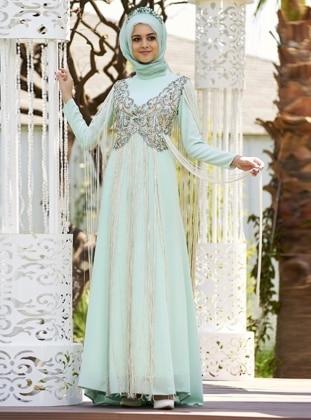 Taş İşlemeli Püsküllü Abiye Elbise - Mint Nilüfer Kamacıoğlu