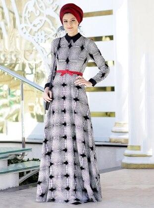 Nilüfer Kamacıoğlu Flok Baskılı Elbise - Siyah Beyaz