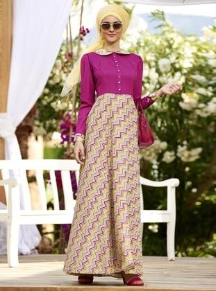 Zikzak Desenli Elbise - Fuşya