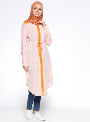 Orange - Stripe - Cotton - Tunic - Nihan 279166