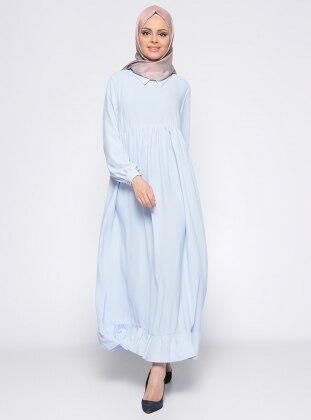Etek Ucu Volanlı Elbise - Mavi