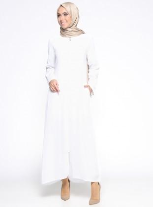 ModaNaz Fermuarlı Şifon Ferace - Beyaz