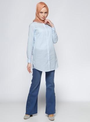 Timin Geniş Paça Kot Pantolon - Mavi
