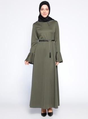 Kolları Volanlı Elbise - Haki