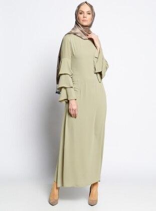 Kolları Volanlı Elbise - Yağ Yeşili