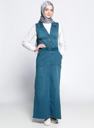 Kolsuz Kot Elbise - Petrol