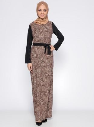 Leopar Desenli Elbise - Camel Siyah
