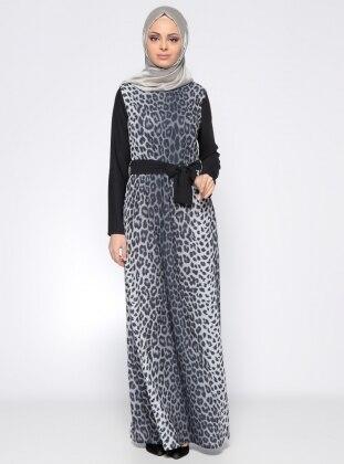 Leopar Desenli Elbise - Gri Siyah