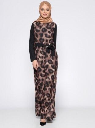 Leopar Desenli Elbise - Siyah