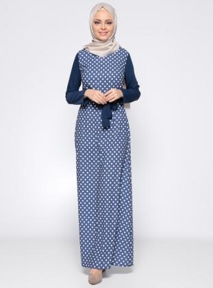 Puantiyeli Elbise - Ekru Lacivert