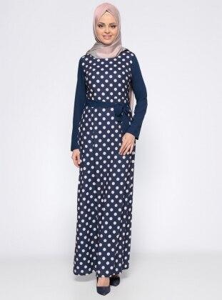 Puantiyeli Elbise - Lacivert Ekru