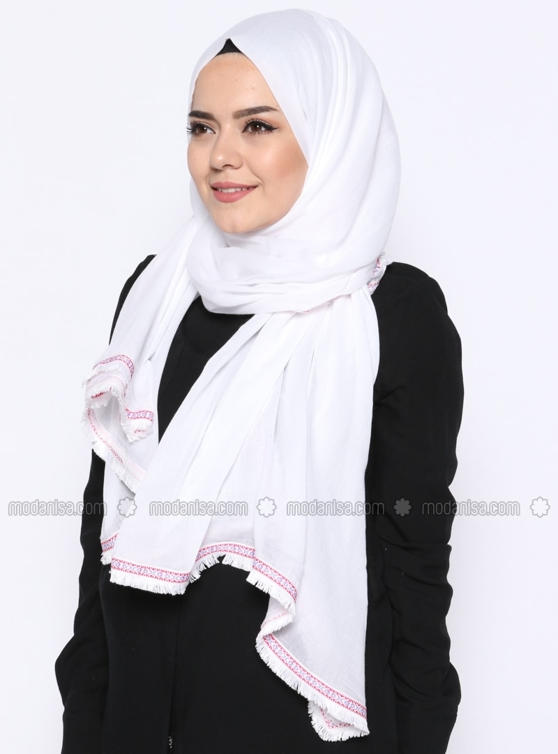 White - Plain - Cotton - Shawl