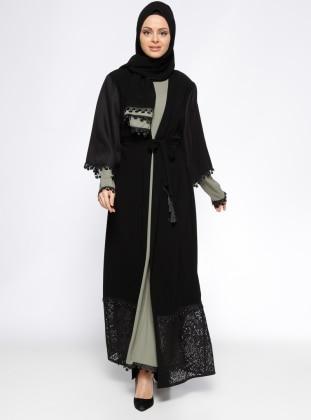 3`lü Takım Abaya - Siyah Haki