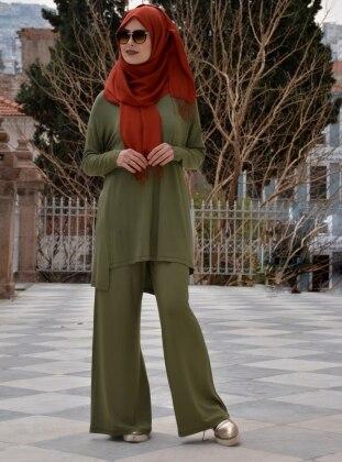 Erda Tunik&Pantolon İkili Takım - Haki Henna Elisa