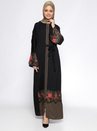 Jamila Fermuarlı Abaya - Siyah
