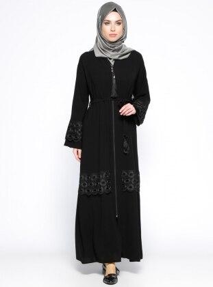 Güpür Detaylı Abaya - Siyah Jamila
