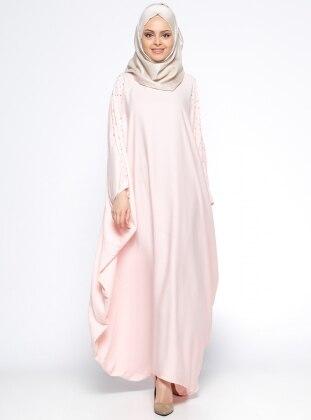 İncili Ferace Elbise - Pudra