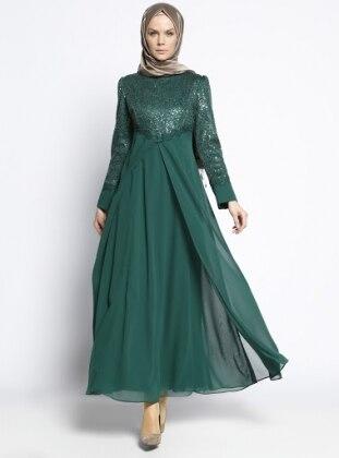 Payetli Abiye Elbise - Yeşil