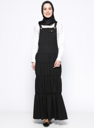 Salopet Elbise - Siyah Veteks Line