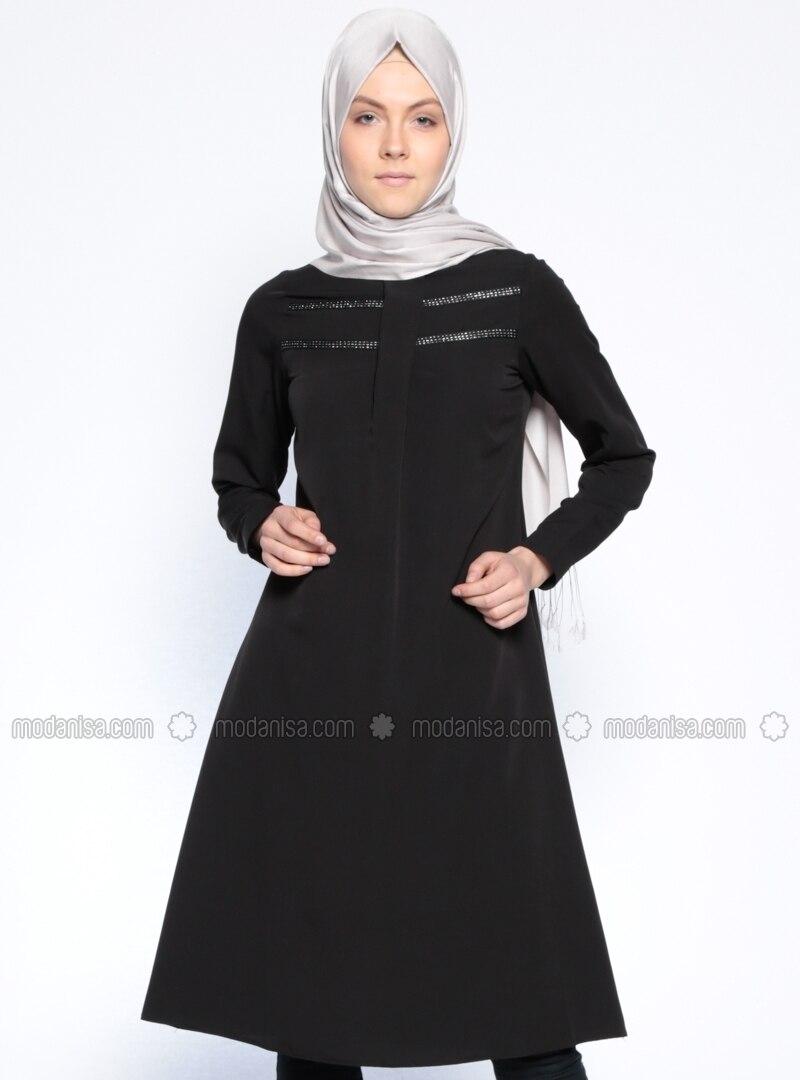 Fotoğrafı büyütmek için tıklayın · Black - Polo neck - Tunic ... 5a355a73a