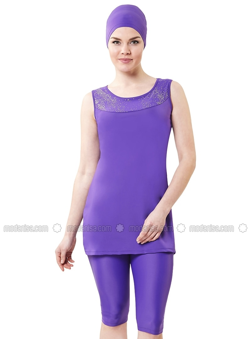 Purple - Fully Lined - Half Covered Switsuits