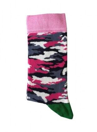 Kamuflaj Desenli Kadın Çorap - Pembe