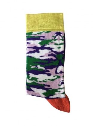 Kamuflaj Desenli Kadın Çorap - Yeşil
