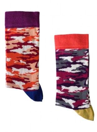 2`li Paket Kamuflaj Desenli Kadın Çorap - Mor Turuncu